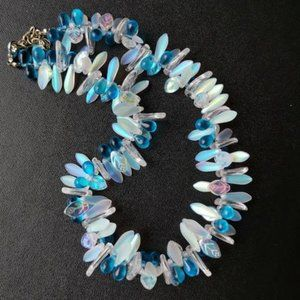 Hand made Glass Bead Necklace Turquoise